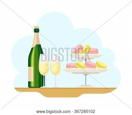French Food With Crunchy Macaroon And Champagne Bottle Vector Illustration