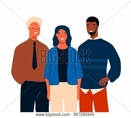 Group Of Multinational Young Business People Standing Together Vector Flat Illustration. Team Of Div