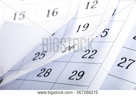 Abstract Blur Page Calendar 2020 Flipping Sheet Close Background