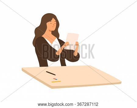 Satisfied Teenage Girl Holding Paper With Successful School Test Vector Flat Illustration. Smiling S