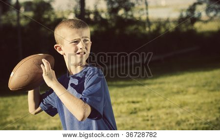 Young Football Player quarterback Vintage theme