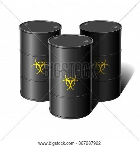 Barrel With Sign Biohazard. Vector Illustration Design Element