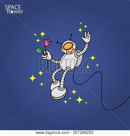 Colorful Simple Vector Flat Art Illustration Of Humanoid Astronaut With Flower In Hand
