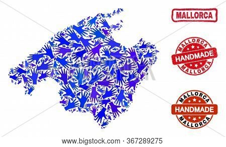 Vector Handmade Composition Of Mallorca Map And Rubber Stamp Seals. Mosaic Mallorca Map Is Designed