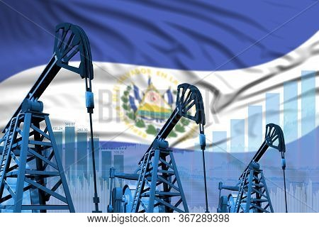 El Salvador Oil And Petrol Industry Concept, Industrial Illustration On El Salvador Flag Background.
