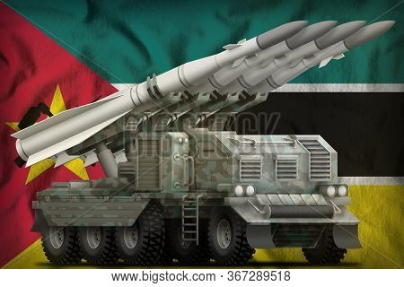 Tactical Short Range Ballistic Missile With Arctic Camouflage On The Mozambique Flag Background. 3d