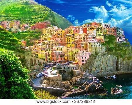 Aerial View Of Scenic Manarola Colorful Village Of Cinque Terre National Park, Unesco Heritage. Ligu