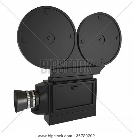 Retro Style Video Camera Isolated On White