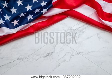 Vintage American Flag Isolated On Mable Background With Copy Space For Text. Flag America Background