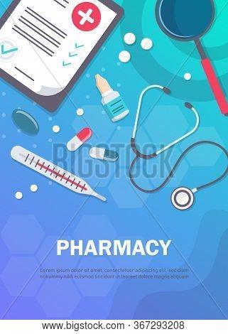 Pharmacy background, pharmacy design, pharmacy templates. Medicine, pharmacy, hospital set of drugs with labels. Medication, pharmaceutics concept. Different medical. Medicine vector illustration. Pharmacy background, pharmacy desing, pharmacy templates.