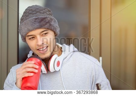 Sports Training Young Latin Man Drinking Water Runner Copyspace Copy Space Winter Running Fitness