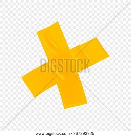 Yellow Duct Repair Tape Cross Isolated On Transparent Background. Realistic Yellow Adhesive Tape Pie