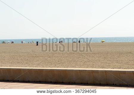 Beautiful White Sand Beach In Roquetas De Mar. August 14, 2019. Roquetas De Mar Almeria. Spain. Trav