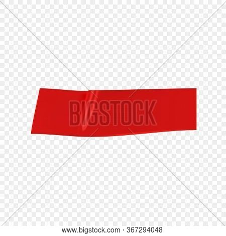 Red Duct Repair Tape Isolated On Transparent Background. Realistic Red Adhesive Tape Piece For Fixin