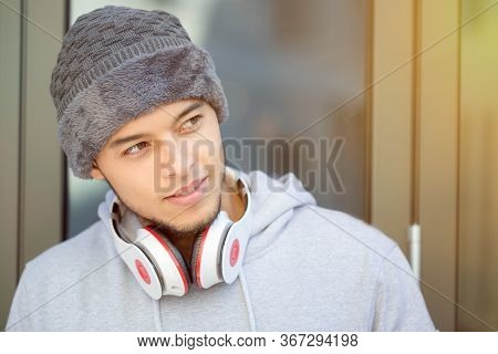 Sports Training Young Latin Man Winter Cold Runner Copyspace Copy Space