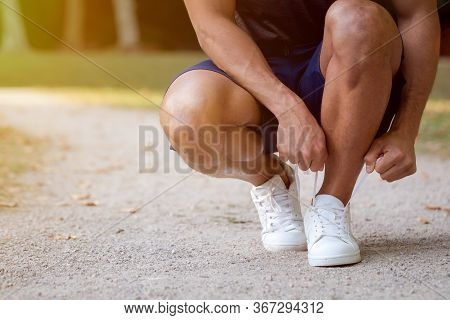 Tying Lace Shoelace Shoes Runner Young Man Ready Copyspace Copy Space Running Jogging Sports Trainin