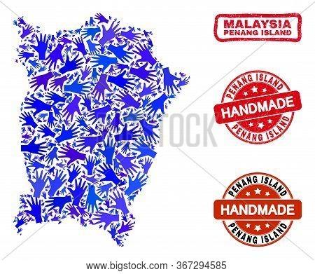 Vector Handmade Combination Of Penang Island Map And Corroded Watermarks. Mosaic Penang Island Map I