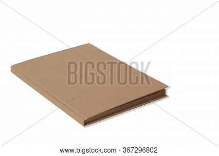 Sketchbook With A Hard Cardboard Cover On White Background. Close-up. Mock Up Stock Photo, Side View