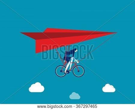 Businesswoman Ride Hang Gliding. Flying Concept, Flat Cartoon