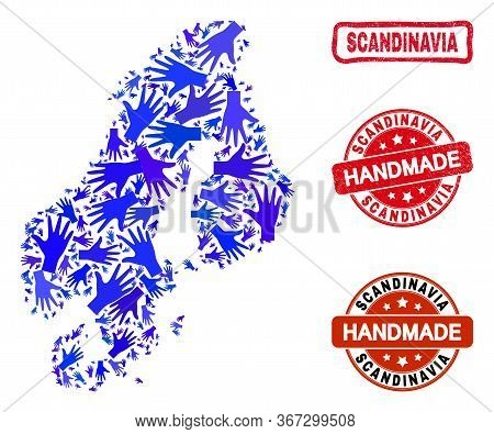 Vector Handmade Composition Of Scandinavia Map And Corroded Seals. Mosaic Scandinavia Map Is Made Of