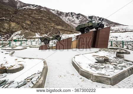 Monument To The Drivers On The Chuysky Trakt In Altay, Siberia, Russia