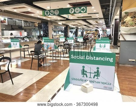 Bangkok, Thailand- June 2, 2020: Social Distancing For Covid-19 Disease Pandemic Prevention In Tesco