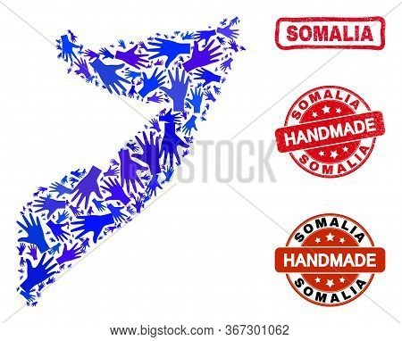 Vector Handmade Combination Of Somalia Map And Scratched Stamp Seals. Mosaic Somalia Map Is Organize