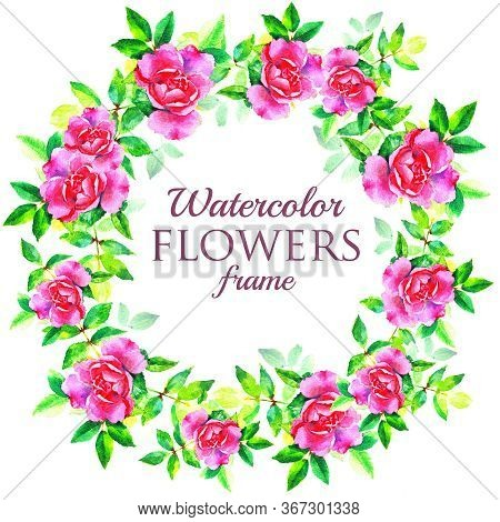 Watercolor Hand Paint Pink Rose Flowers Wreath On White Background, Element For Design, Greeting Car
