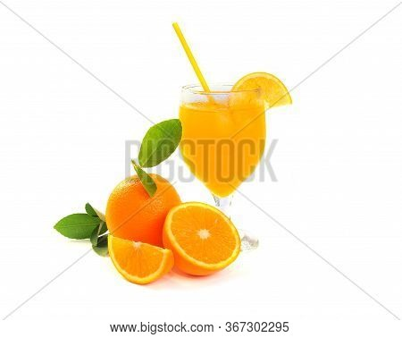 Fresh Orange Juice With Fruits And Leaf, Isolated On White Background. Citrus Juice, Vitamin C, Slic