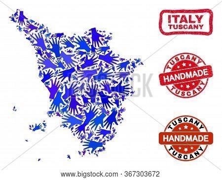 Vector Handmade Combination Of Tuscany Region Map And Corroded Watermarks. Mosaic Tuscany Region Map