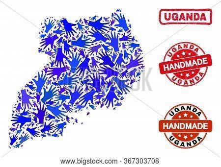 Vector Handmade Combination Of Uganda Map And Textured Seals. Mosaic Uganda Map Is Designed With Ran
