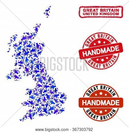 Vector Handmade Collage Of United Kingdom Map And Rubber Stamps. Mosaic United Kingdom Map Is Compos