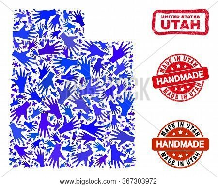 Vector Handmade Composition Of Utah State Map And Scratched Stamp Seals. Mosaic Utah State Map Is Or