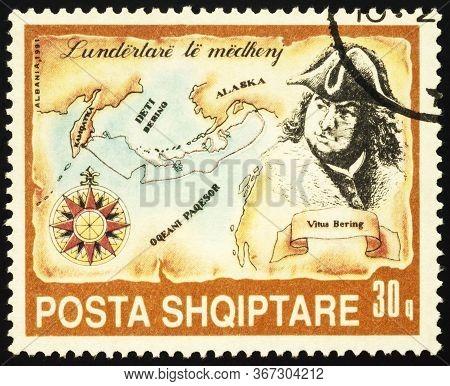 Moscow, Russia - May 21, 2020: Stamp Printed In Albania Shows Vitus Bering (1681-1741), Danish Seafa