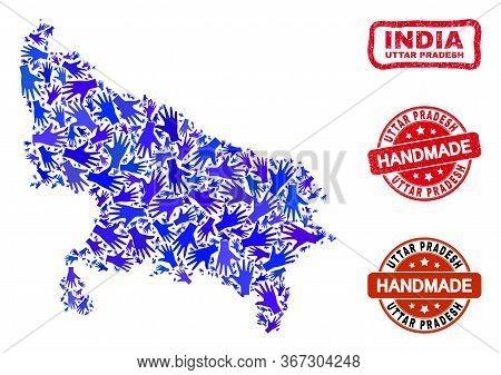 Vector Handmade Collage Of Uttar Pradesh State Map And Dirty Watermarks. Mosaic Uttar Pradesh State