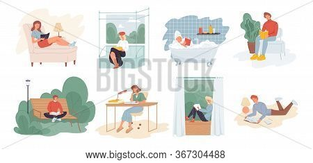 People Reading Book Scene Set. Self Education, Development Exam Preparation. Leisure, Hobby Interest
