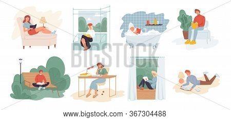 People Reading Book Scene Set. Self Education, Development Exam Preparation. Leisure, Hobby Interest
