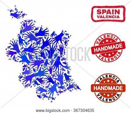 Vector Handmade Combination Of Valencia Province Map And Scratched Watermarks. Mosaic Valencia Provi