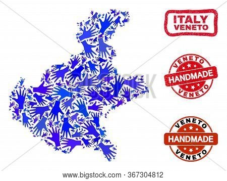 Vector Handmade Composition Of Veneto Region Map And Scratched Seals. Mosaic Veneto Region Map Is Or