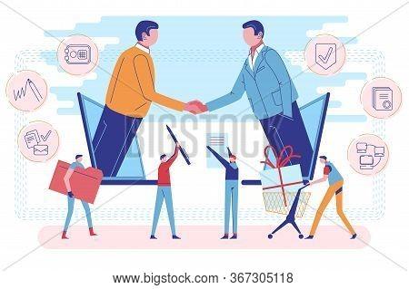 Digital Influencer Marketing. Referral Program To Refer Friend. Business People Partners On Laptop S