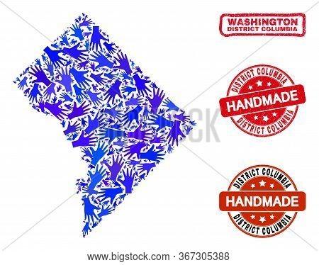 Vector Handmade Collage Of Washington District Columbia Map And Rubber Watermarks. Mosaic Washington