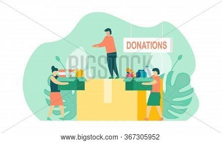 Clothes Donation People Illustration. Young Woman And Man Putting Clothes To Donation Boxes