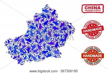 Vector Handmade Composition Of Xinjiang Uyghur Region Map And Rubber Stamps. Mosaic Xinjiang Uyghur
