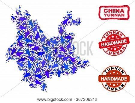 Vector Handmade Combination Of Yunnan Province Map And Dirty Stamp Seals. Mosaic Yunnan Province Map