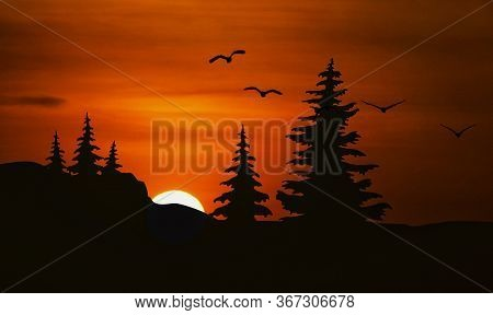 Silhouette Of Mosque In Sunset With Birds And Tree