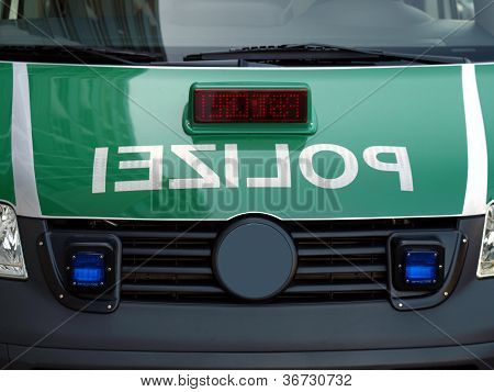 """Typical German police car with reversed mirrored text """"polizei"""" poster"""