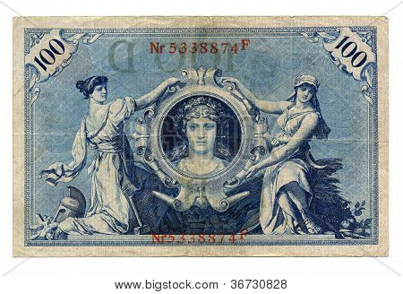 Vintage withdrawn 100 Mark banknote of the Deutsches Reich (German Empire), year 1908 poster