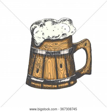 Colored Wooden Mug With Beer And Beer Foam Overflowing Over The Edge Isolated On White Background. H