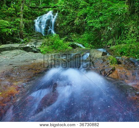 Mountain river in tropical rain forest in Thailand national park. Waterfall in jungle, green tropical plants and stones around.