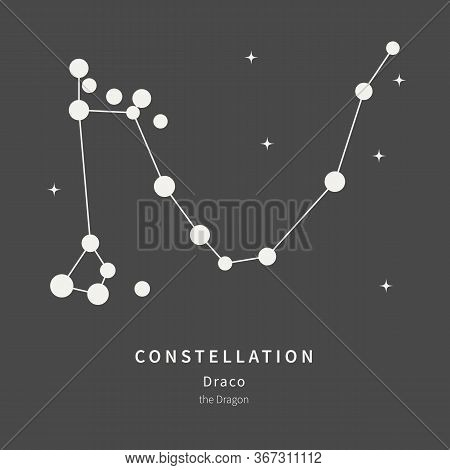 The Constellation Of Draco. The Dragon - Linear Icon. Vector Illustration Of The Concept Of Astronom